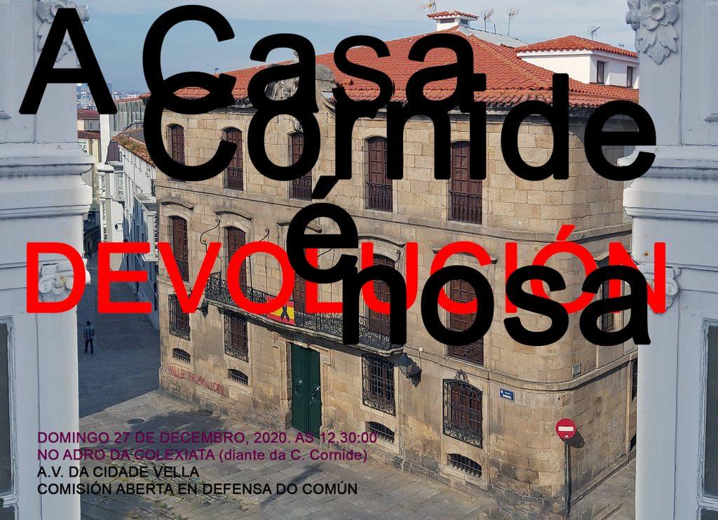 Concentración diante da Casa Cornide. 27,12,2020. arranx.